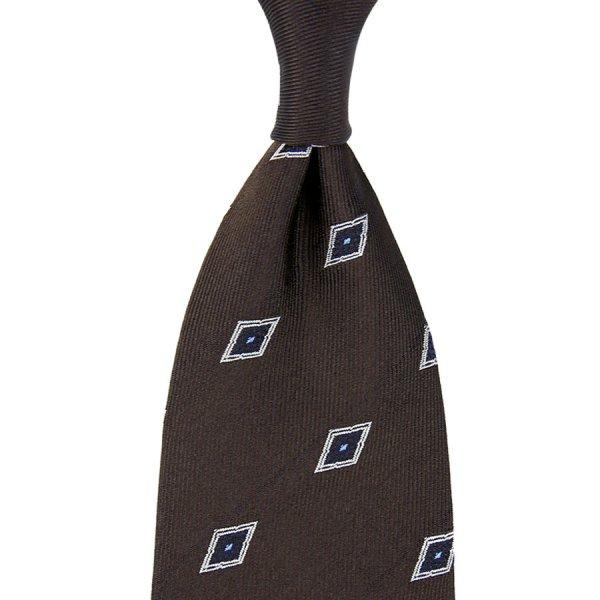 Geometrical Jacquard Silk Tie - Chocolate - Hand-Rolled