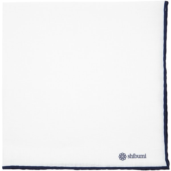 Irish Linen Shoestring Pocket Square - White / Navy - 43 x 43cm