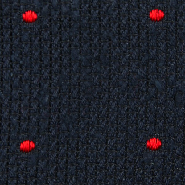 Dotted Shantung Grenadine Bespoke Tie - Navy / Red