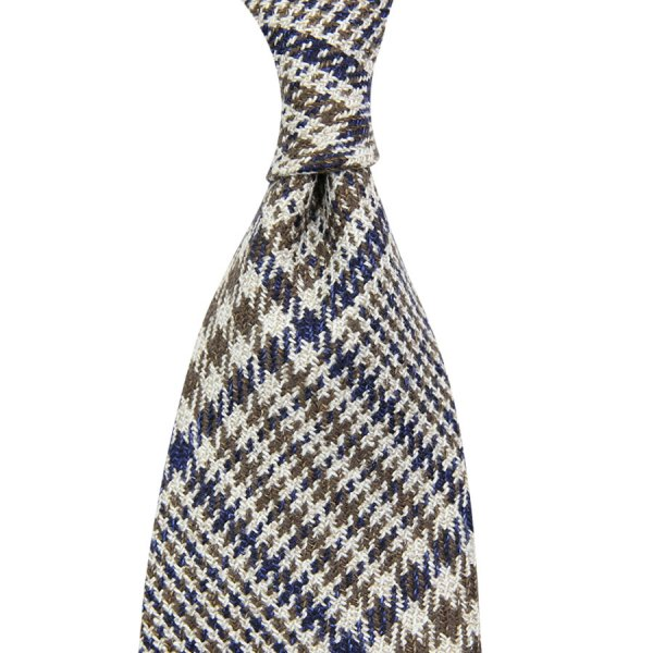 Marling & Evans Glencheck Wool / Silk Tie - Beige - Hand-Rolled