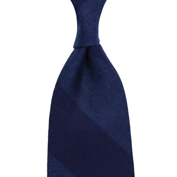 Vintage Fox Brothers Block Stripe Wool / Silk Tie - Navy / Blue