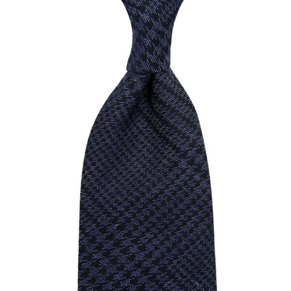 Glencheck Denim Cotton Tie - Navy - Hand-Rolled