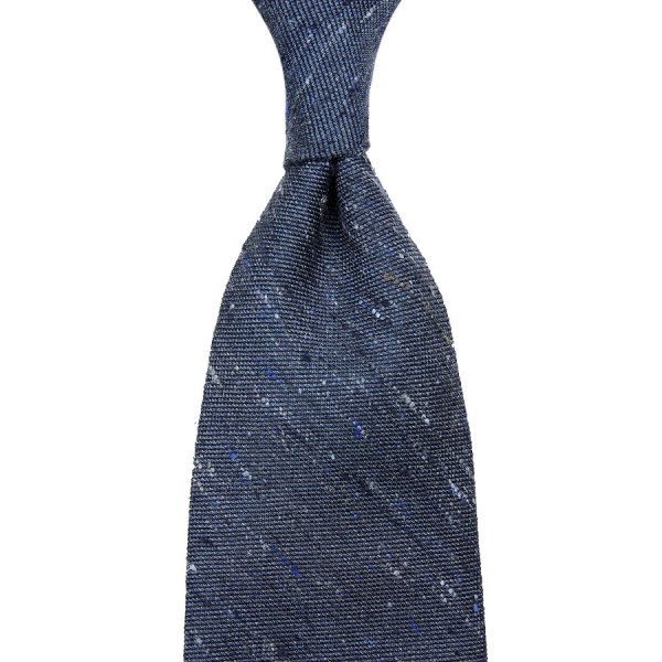 Plain Tussah Silk Tie - Denim - Hand-Rolled