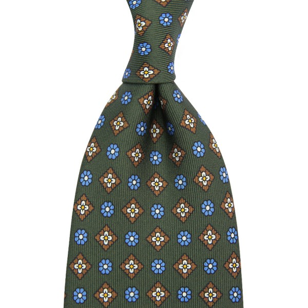 Floral Printed Silk Tie - Moss Green - Handrolled