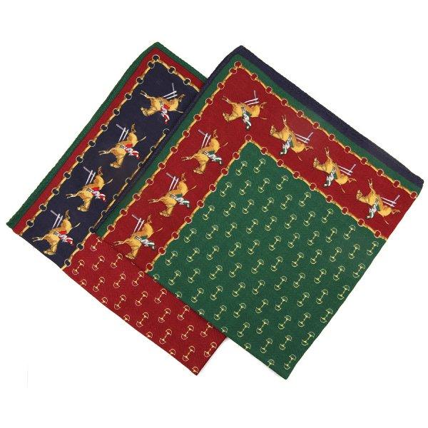 Animal Motif Cotton Handkerchief Set - Burgundy / Forest