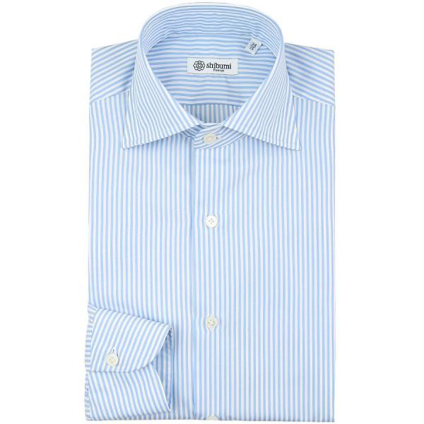 Poplin Semi Spread Shirt - White / Light Blue - Bengal Stripe