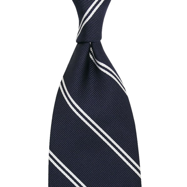 Double Bar Repp Stripe Silk Tie - Navy - Hand-Rolled