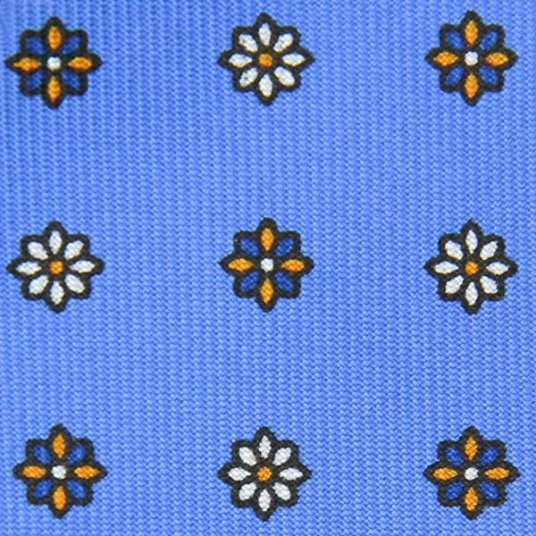 Floral Printed Bespoke Silk Tie - Sky Blue II