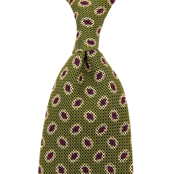 Medallion Printed Silk / Cotton Grenadine Tie - Olive