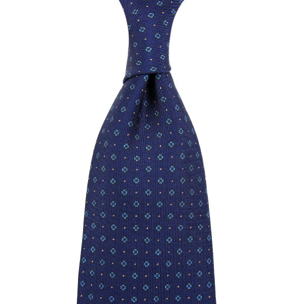 Floral Printed Silk Tie - Light Navy - Hand-Rolled