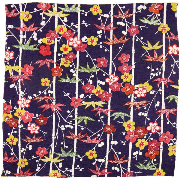 Vintage Kimono Silk Pocket Square - Eggplant