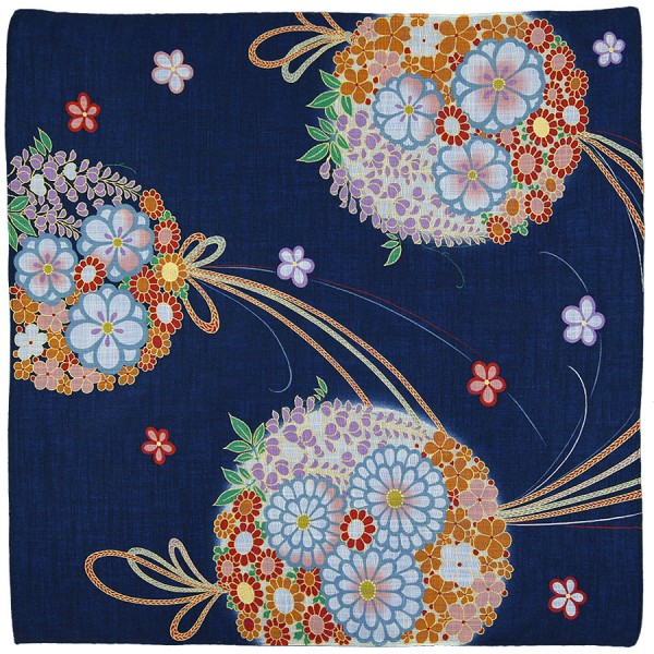 Floral Motif Cotton Handkerchief - Navy II