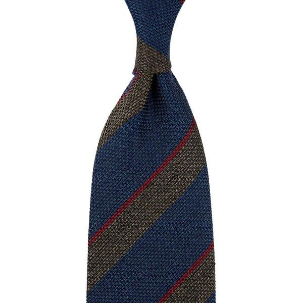 Striped Grenadine / Garza Fina Silk / Wool Tie - Navy / Brown Mottled