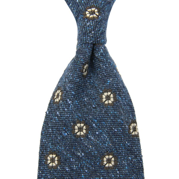 Donegal Silk / Wool Tie - Blue - Handrolled