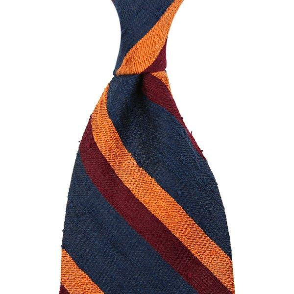 Striped Shantung Silk Tie - Navy / Burgundy / Orange - Hand-Rolled