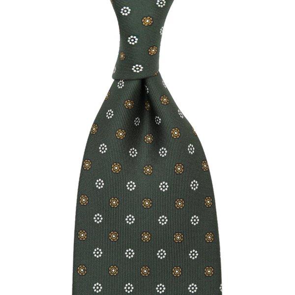 Floral Printed Silk Tie - Olive - Handrolled