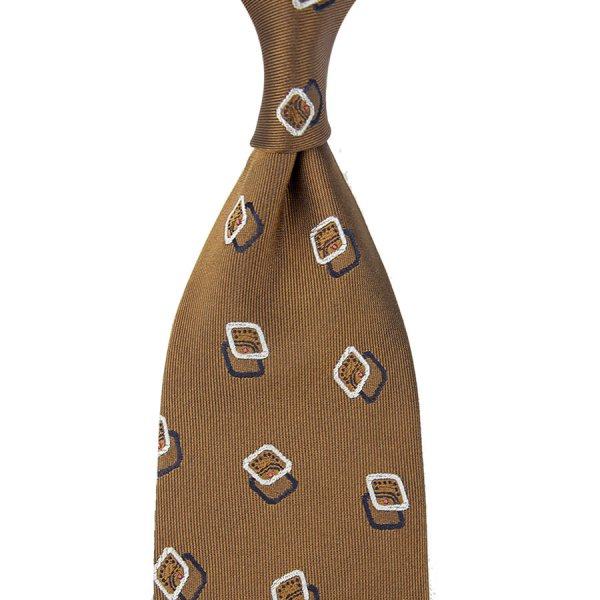 Geometrical Jacquard Silk Tie - Beige - Hand-Rolled