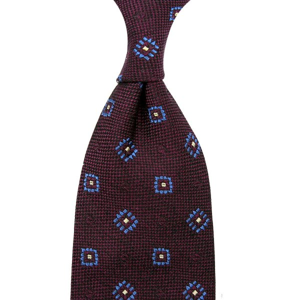 Geometrical Boucle Silk Tie - Deep Burgundy - Hand-Rolled