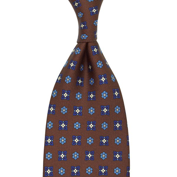 Floral Printed Silk Tie - Chocolate - Handrolled