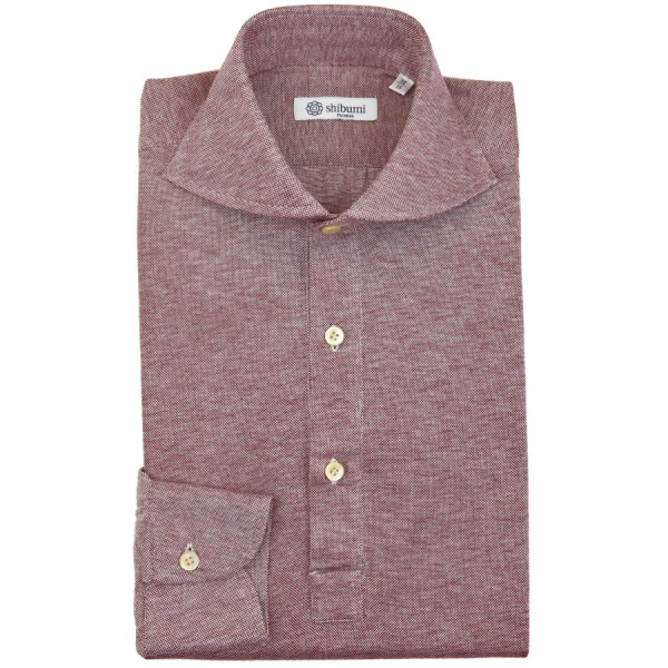 Long Sleeved Polo Shirt - Wide Spread - Burgundy Birdseye - Regular Fit