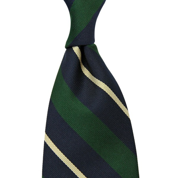 Repp Stripe Silk Tie - Navy / Forest / Ivory - Hand-Rolled