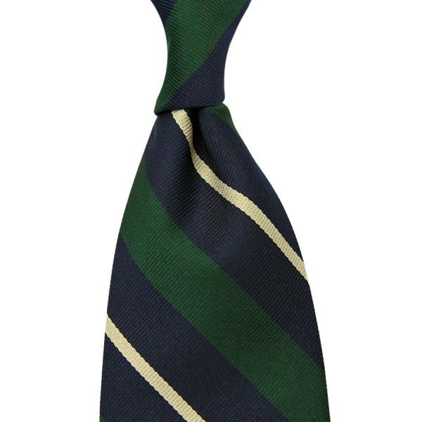 Repp Stripe Silk Tie - Navy / Forest / Ivory - Handrolled