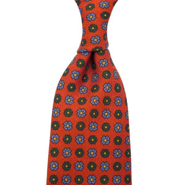 Floral Printed Wool Challis Tie - Terracotta - Self-Tipped