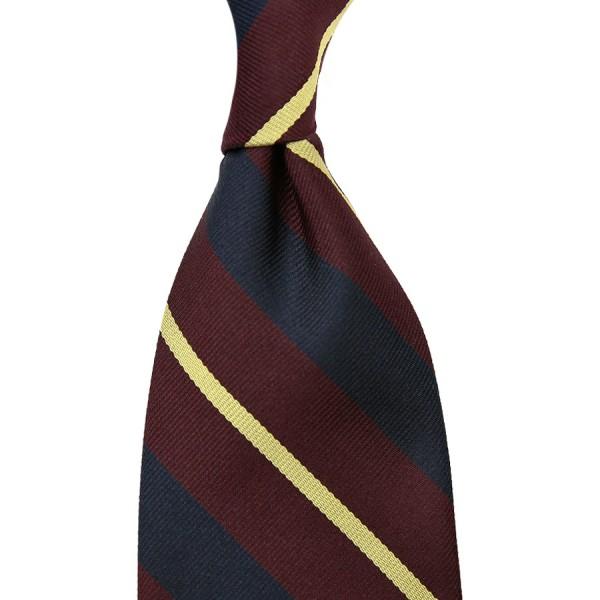 Repp Stripe Silk Tie - Burgundy / Navy / Yellow - Hand-Rolled