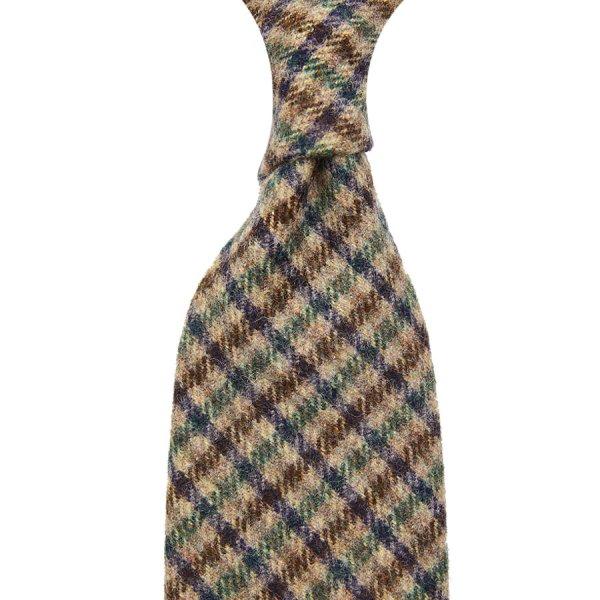 Vintage Fox Brothers Checked Wool Tie - Brown
