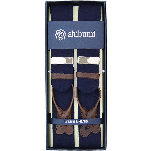 Boxcloth Braces - Navy / Brown Leather