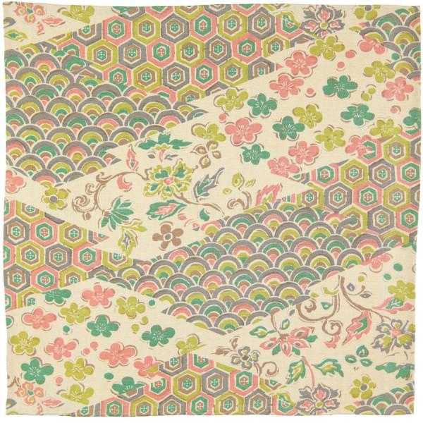 Vintage Kimono Silk Pocket Square - Champagne