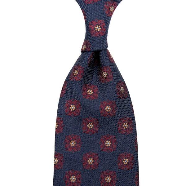 Floral Silk Tie - Navy / Burgundy - Hand-Rolled