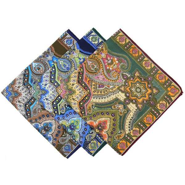 Paisley Printed Cotton Handkerchief Set - Forest / Navy / Brown