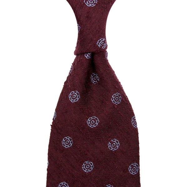 7-Fold Shibumi-Flower Shantung Silk Tie - Burgundy - Hand-Rolled