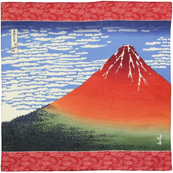 Ukiyo-e Cotton Handkerchief - Red