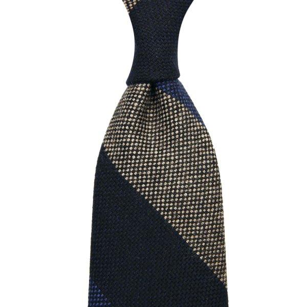 Block Stripe Cashmere Tie - Navy / Beige - Hand-Rolled