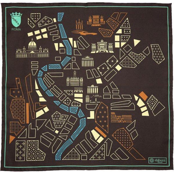 Rome Map Silk Pocket Square - Chocolate - 40x40cm
