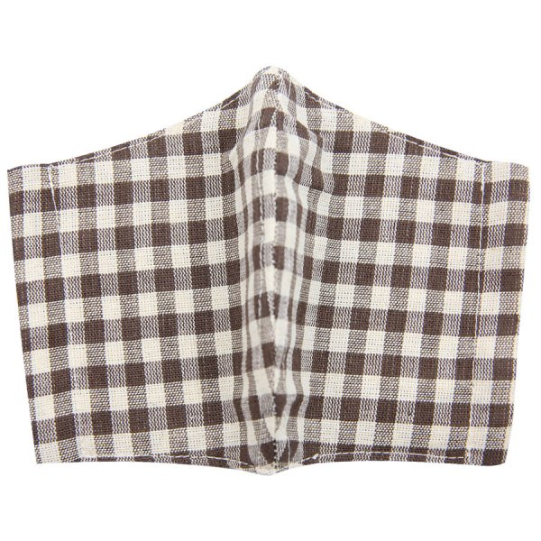 Checked Washable Cotton Mask - Beige / Brown