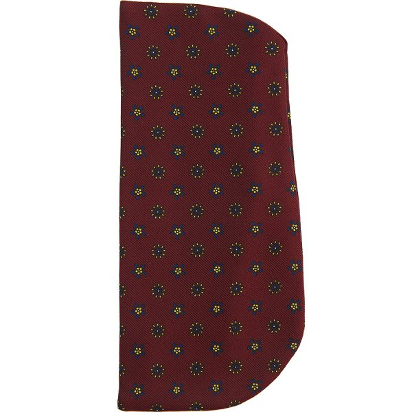 Floral Printed Silk Glasses Case - Burgundy