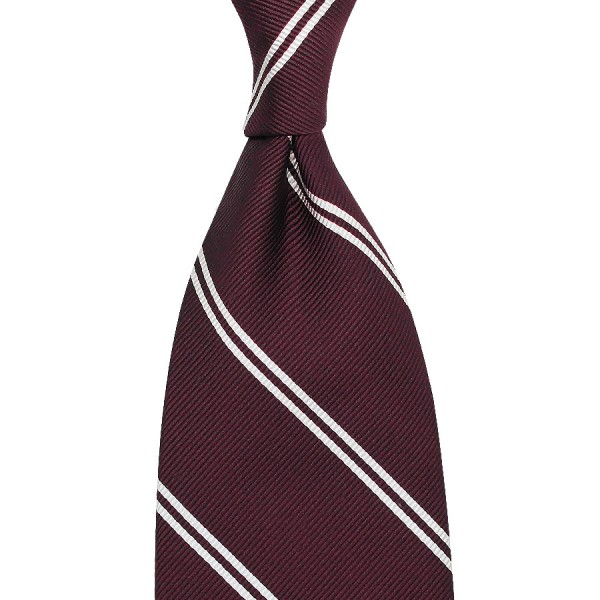 Double Bar Repp Stripe Silk Tie - Burgundy - Hand-Rolled