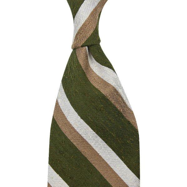 Striped Shantung Silk Tie - Olive / Beige / White - Hand-Rolled