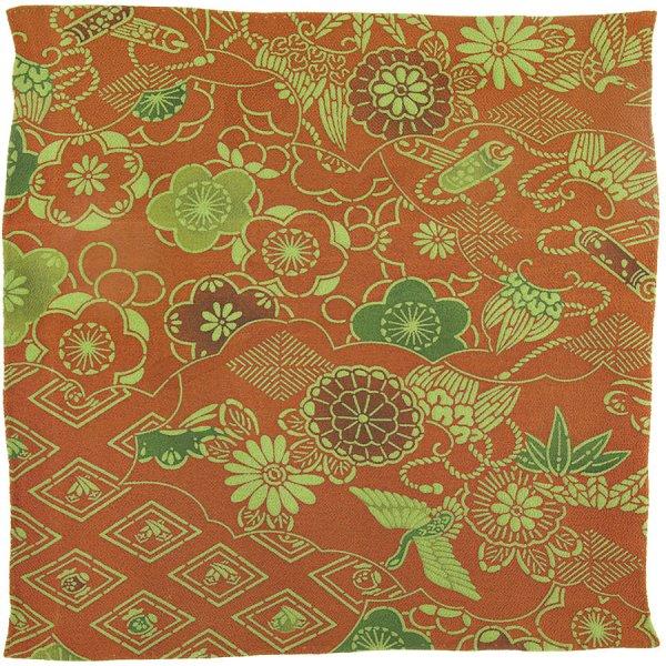 Vintage Kimono Silk Pocket Square - Green