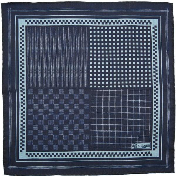 Geometrical Wool / Silk Pocket Square - Navy