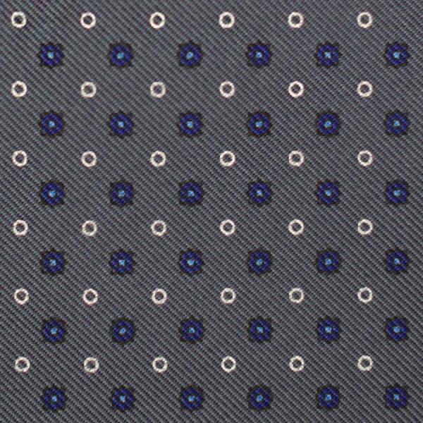 Floral Printed Silk Bespoke Tie - Grey