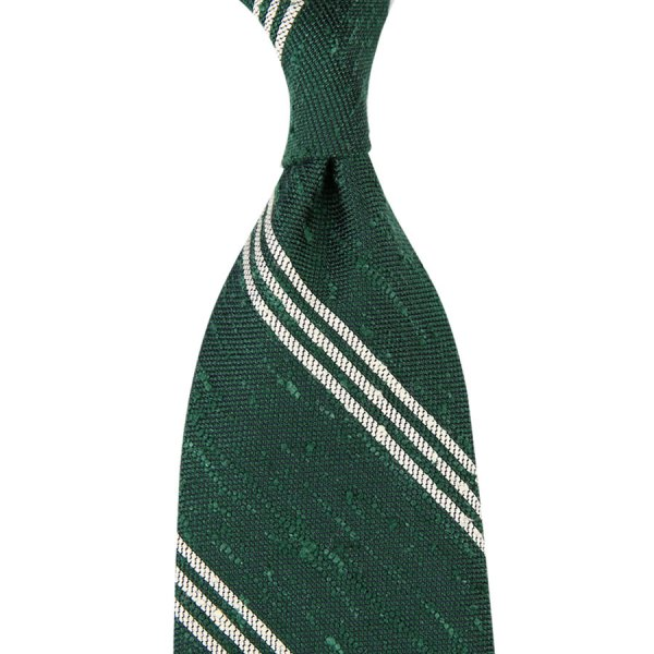 Triple Bar Soft Shantung Silk Tie - Forest - Hand-Rolled