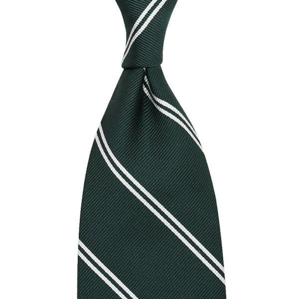 Double Bar Repp Stripe Silk Tie - Bottle Green - Hand-Rolled