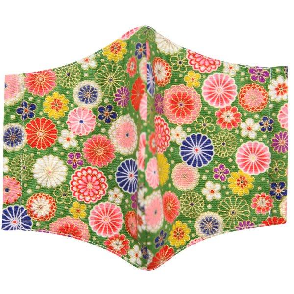 Kimono Motif Washable Cotton Mask - Green III