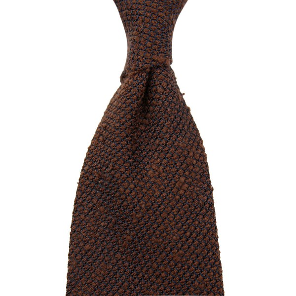 7-Fold Shantung Grenadine Tie - Chocolate - Handrolled