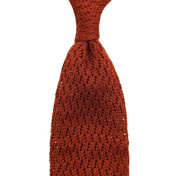Zigzag Silk Knit Tie - Rust