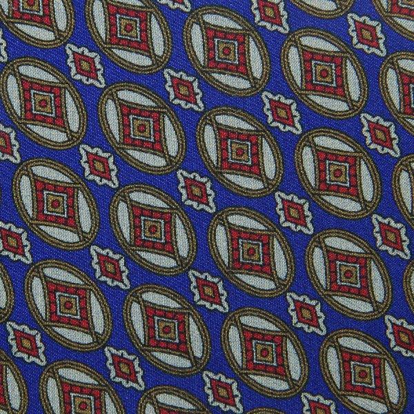 Vintage Geometrical Printed Silk Bespoke Tie - Blue